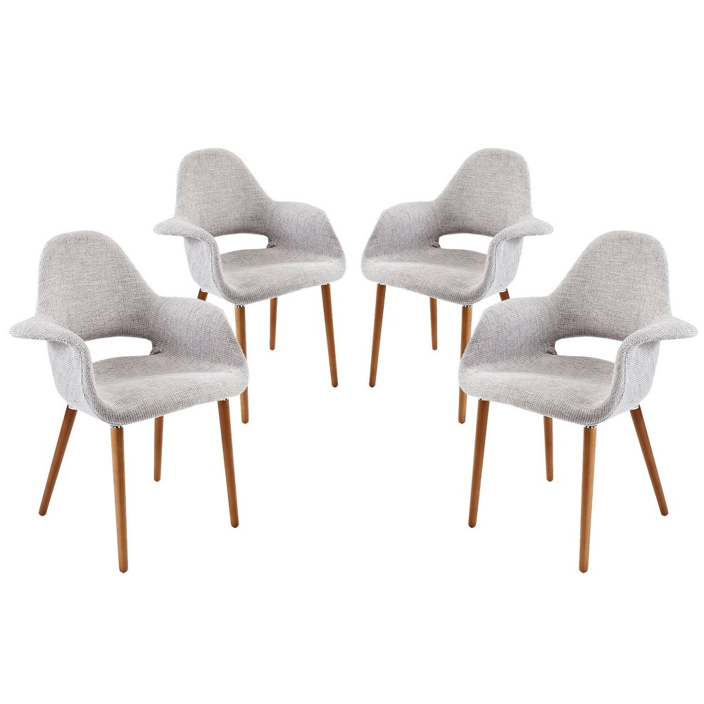 Aegis Dining Armchair Set of 4 Light Gray - Modway