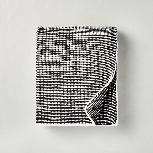 Chunky Knit Striped Throw Blanket Charcoal/White - Hearth & Hand™ with Magnolia - image 1 of 3