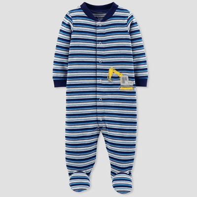 Baby Boys' Construction Stripe Cotton Sleep N' Play - Just One You® made by carter's Blue 3M