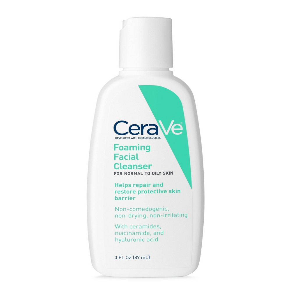 CeraVe Foaming Facial Cleanser for Normal to Oily Skin, Fragrance Free - 3oz