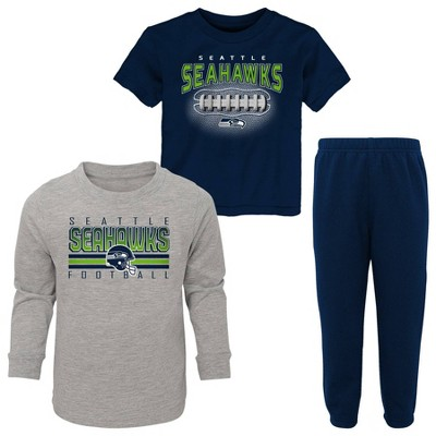 NFL Seattle Seahawks Toddler Boys' Gametime Fun T-Shirt & Pants Set 3pk
