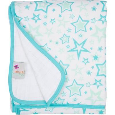 MiracleWare Muslin Baby Blanket Stars Aqua