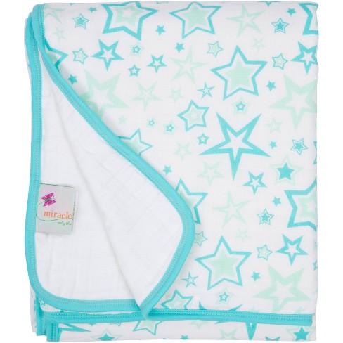 MiracleWare Muslin Baby Blanket Stars Aqua - image 1 of 1