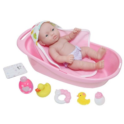 "JC Toys La Newborn All Vinyl 13"" Realistic Baby Doll Bathtub Set 8pc Gift Set"