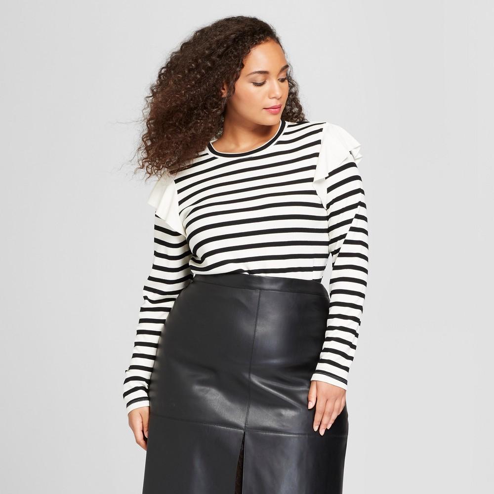 Women's Plus Size Long Sleeve Shoulder Frill Crew T-Shirt - Who What Wear White/Black Stripe 4X, Black/White Stripe