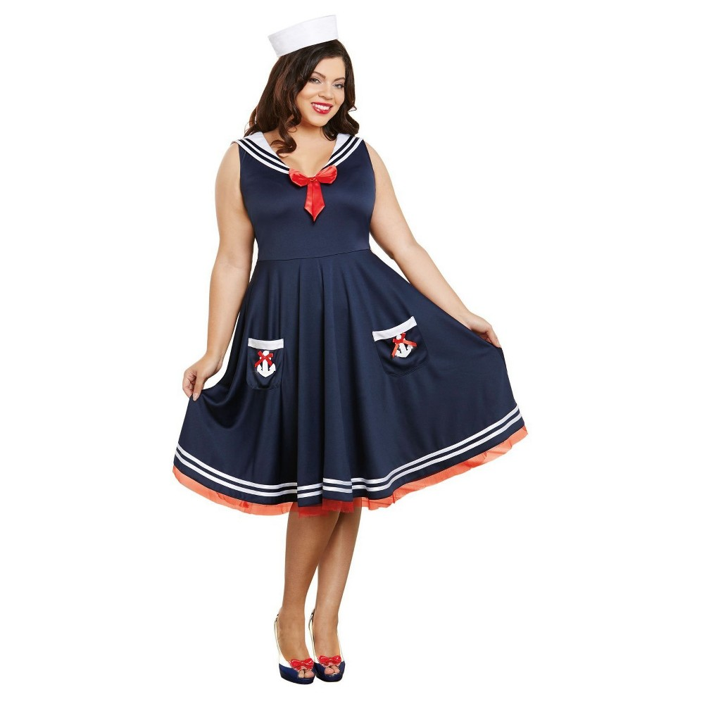 Women's All Aboard Sailor Dress and Hat Adult Costume 1X/2X, Size: XL, Multicolored