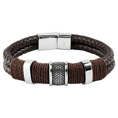 """Men's Crucible Brown Twine Stainless Steel Accents Woven Braided Leather Bangle Bracelet (12mm) - Black (8.5"""")"""