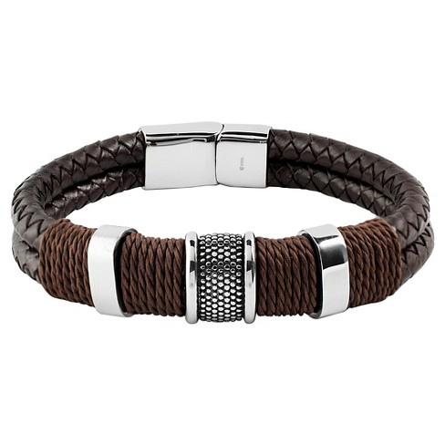 Men S Crucible Brown Twine Stainless Steel Accents Woven Braided Leather Bracelet 12mm Black 8 5