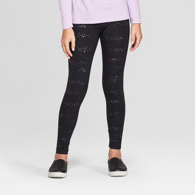 Girls' Rainbow Sparkle Leggings - Cat & Jack™ Black