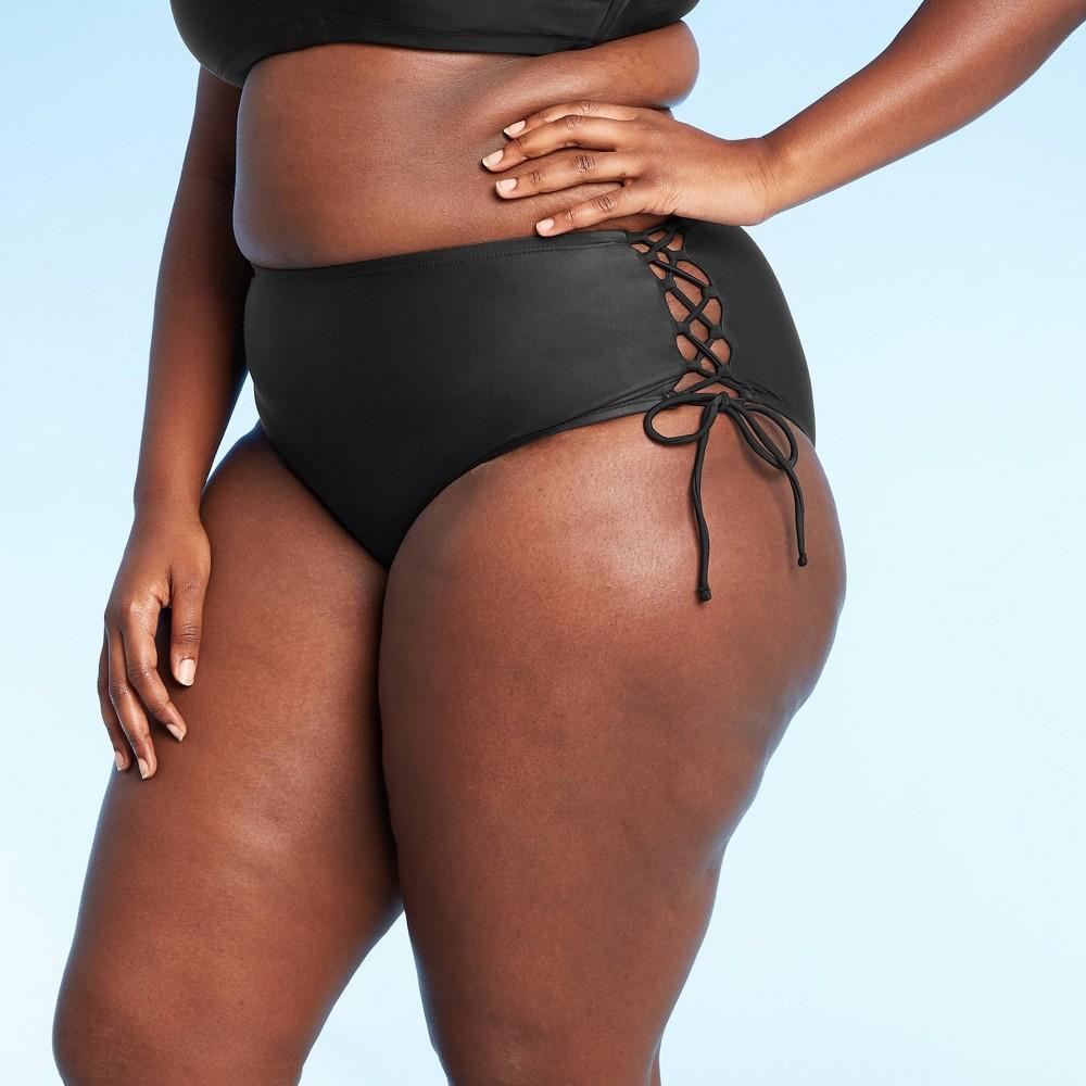 Juniors 39 Plus Size Lace Up High Waist Bikini Bottom Xhilaration 8482 Black 16w 18w