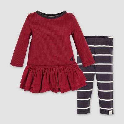Burt's Bees Baby Organic Cotton Thermal Ruffle Skater Dress & Leggings Set - Red/Gray 12M