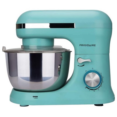 Frigidaire ESTM020-BLUE 4.5 Liter 8 Speed Electric Countertop Standalone Food Mixer with Bowl, Hook, Beater, and Whisk Attachment Accessories, Blue