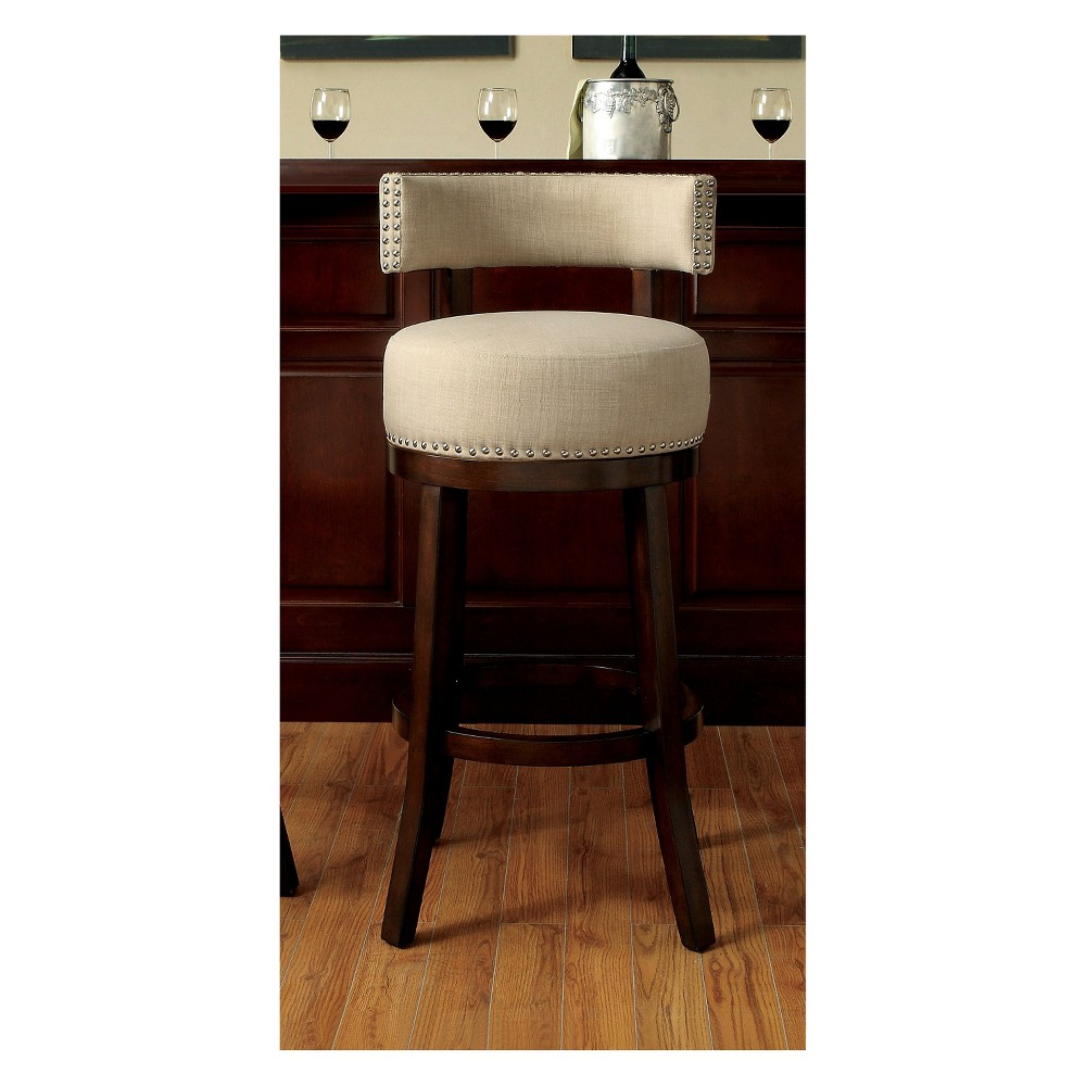 30 Jefferson Barstool with Upholstered Seat Beige/Dark Oak - Homes: Inside + Out