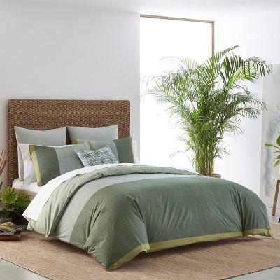 Izi Chambray Color Block Green Comforter Set