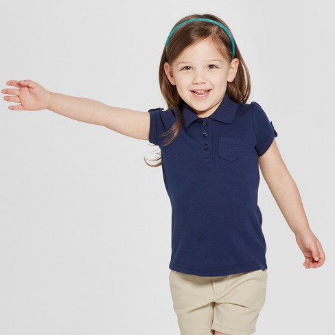 cc28699e0 Toddler Girls' Short Sleeve Interlock Uniform Polo Shirt - Cat & Jack™ Navy  2T : Target