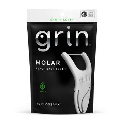 Grin MolarDental Floss Picks - Minty - 75ct