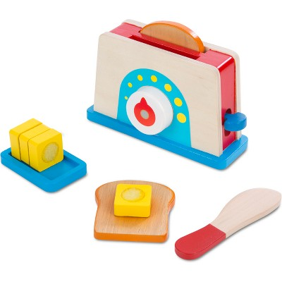 Melissa & Doug Bread and Butter Toaster Set (9pc)- Wooden Play Food and Kitchen Accessories