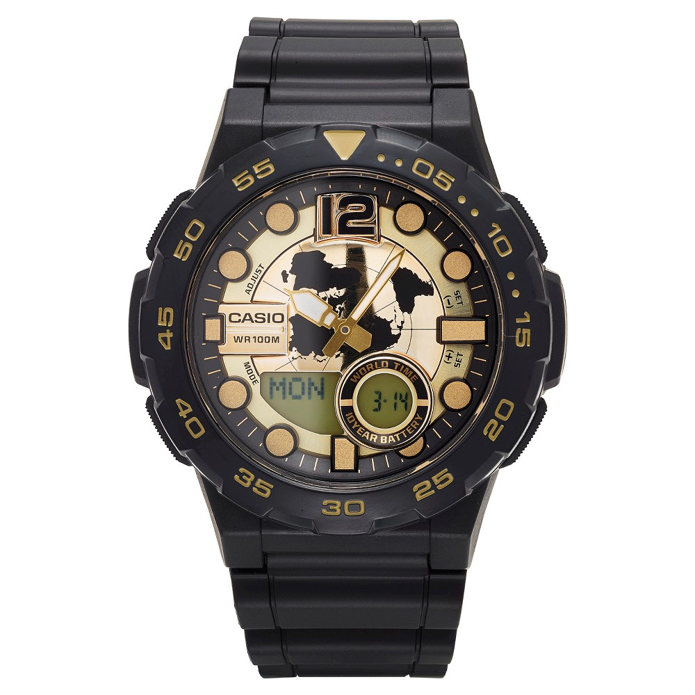 Image of Casio Men's Ana-Digi Dive Style Watch - Black/Gold (AEQ100BW-9AVCF), Size: Small, Gold Black
