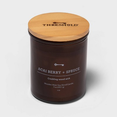 Lidded Amber Glass Jar Crackling Wooden Wick Acai Berry and Spruce Candle - Threshold™