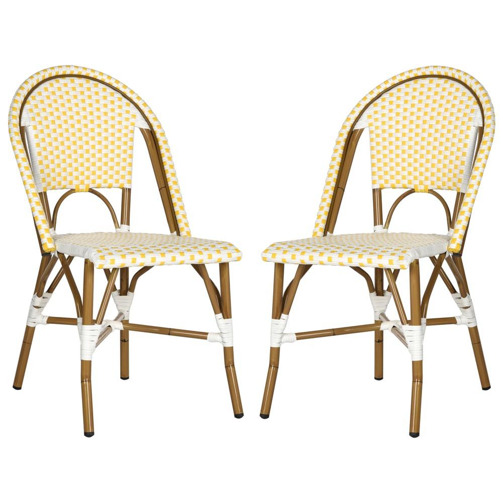 Salcha Indoor-Outdoor Stacking Side Chair - Yellow / White - Safavieh