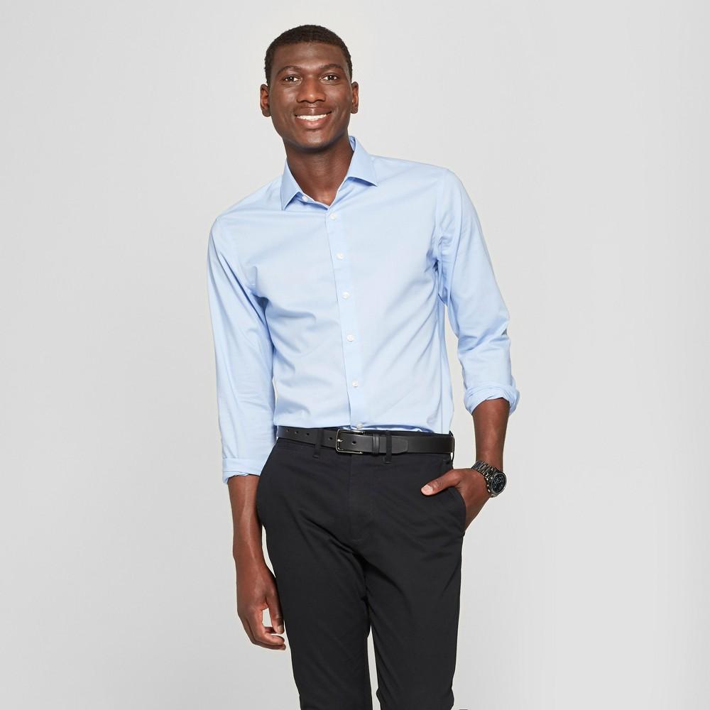 Men's Standard Fit Long Sleeve Button-Down Dress Shirt - Goodfellow & Co Light Blue L