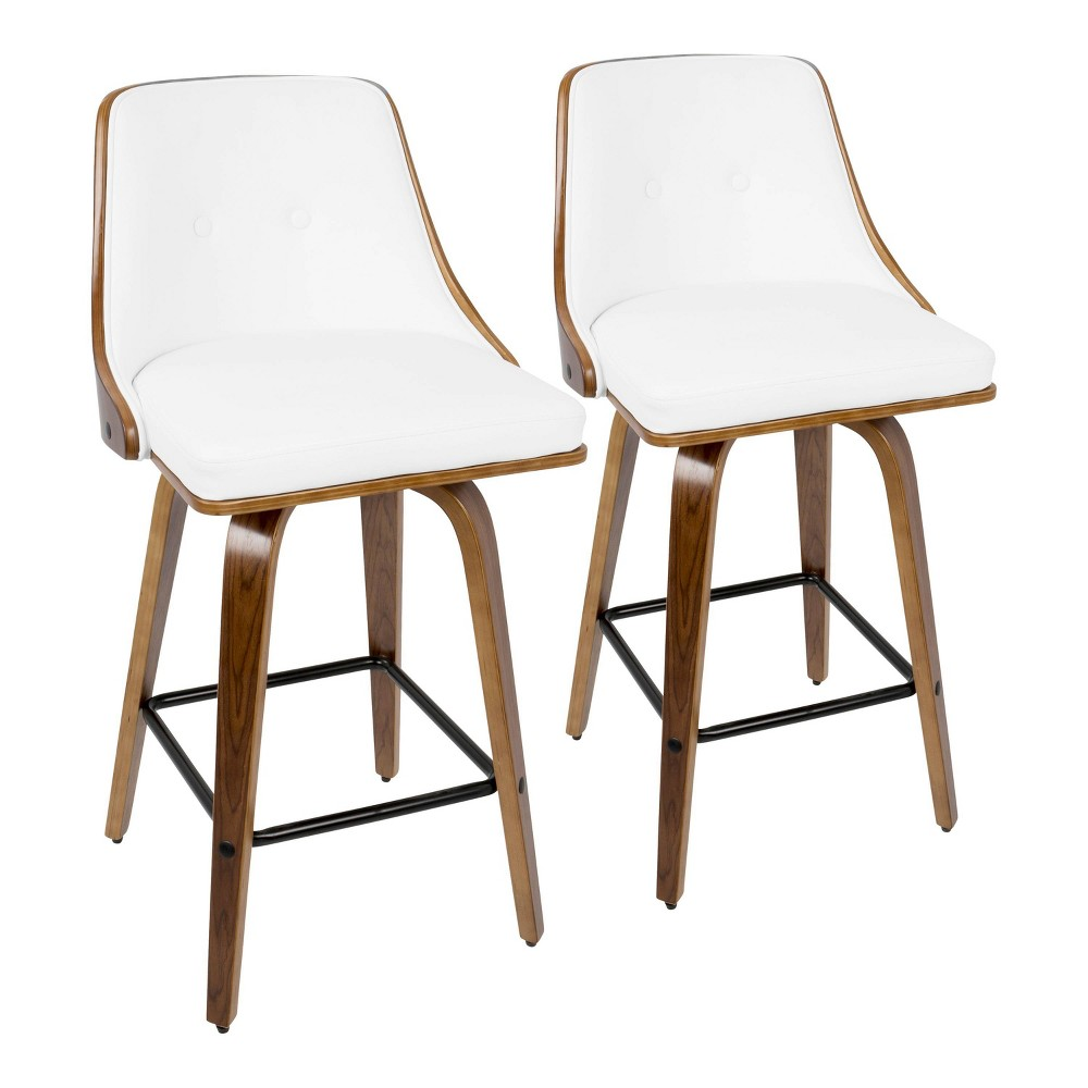 Phenomenal Set Of 2 Gianna 26 Mid Century Modern Counter Stool Faux Lamtechconsult Wood Chair Design Ideas Lamtechconsultcom