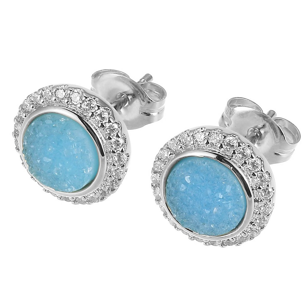 Sterling Silver Turquoise Blue Dyed Genuine Druzy and Cubic Zirconia Halo Stud Earrings, Girl's, Size: Large, Silver/Turquoise