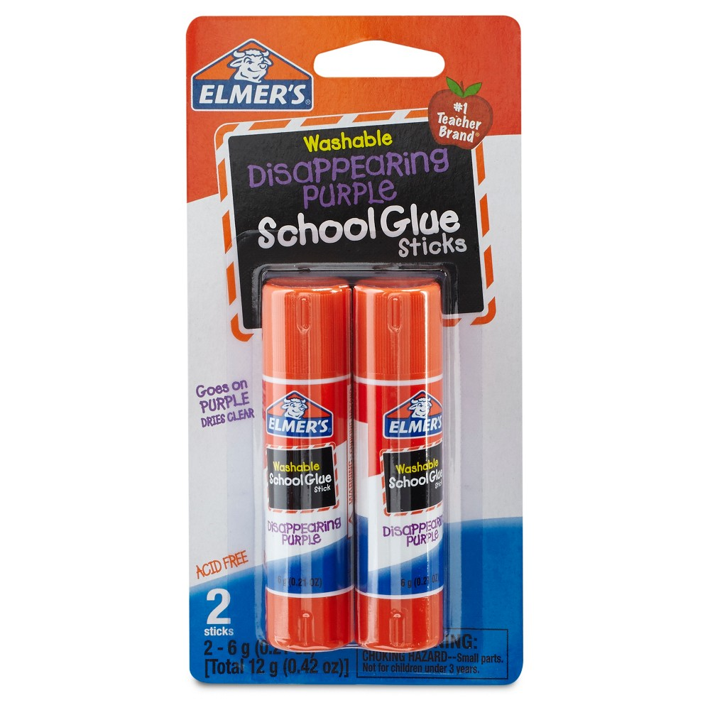 Elmer's 2ct Washable Glue Sticks Disappearing Purple was $1.19 now $0.5 (58.0% off)