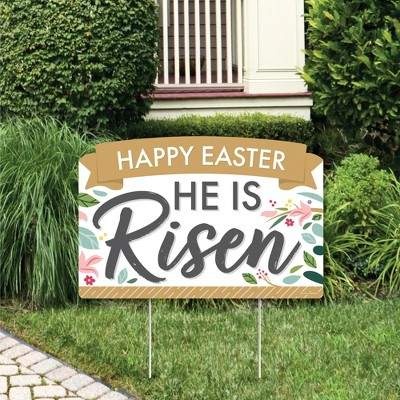 Big Dot of Happiness Religious Easter - Christian Holiday Party Yard Sign Lawn Decorations - Happy Easter He is Risen Party Yardy Sign