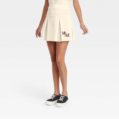 Women's Disney Mickey University Graphic Mini A-Line Skirt - Ivory