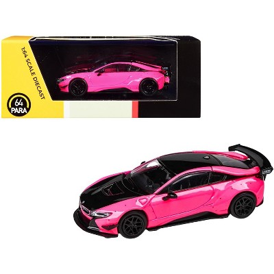 BMW i8 Liberty Walk Hot Pink and Black 1/64 Diecast Model Car by Paragon