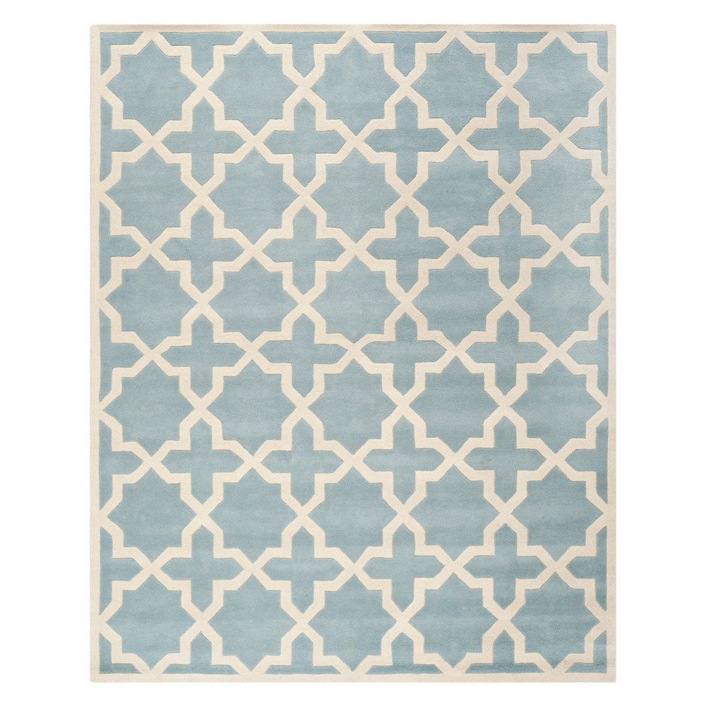 Quatrefoil Design Tufted Area Rug Blue/Ivory