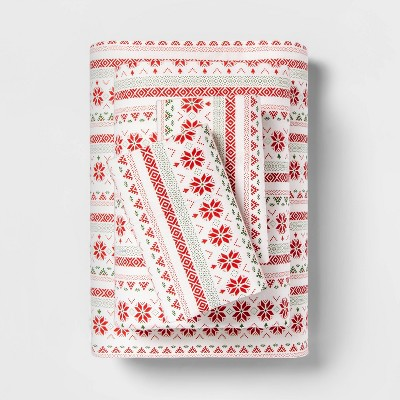 Queen Printed Pattern Flannel Sheet Set Red Fair Isle - Threshold™
