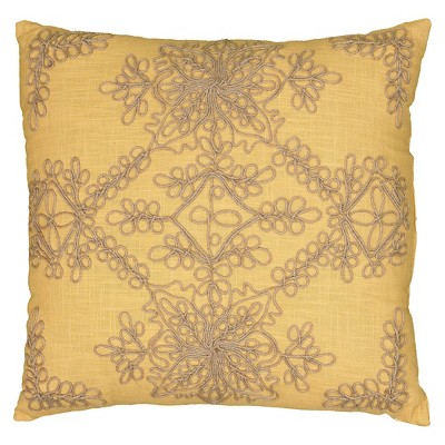 """Mustard Jute Embroidered Throw Pillow 18""""x18"""" - Rizzy Home"""