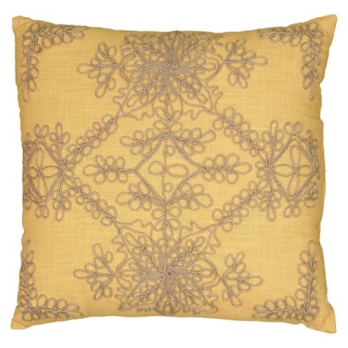Jute Embroidery Throw Pillow - Rizzy Home® - image 1 of 1