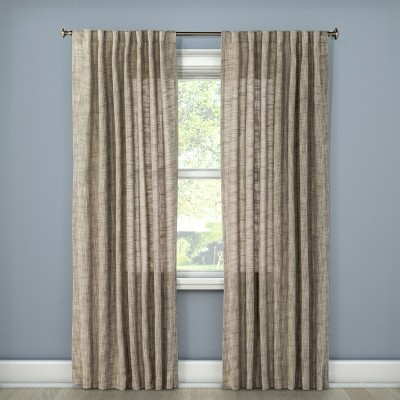 Textured Weave Back Tab Window Curtain Panel Light Gray (54 x95 )- Threshold™