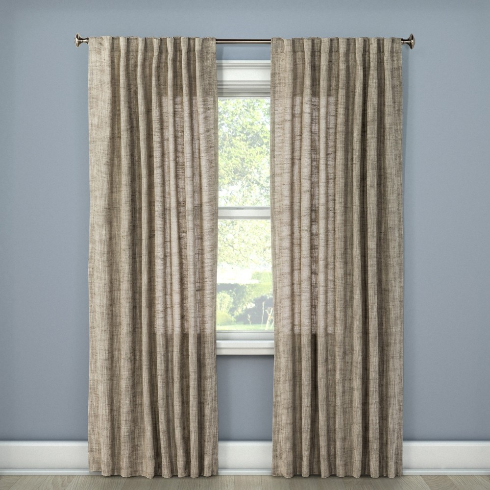 108x54 Textured Weave Back Tab Window Curtain Panel Light Gray - Threshold was $34.99 now $17.49 (50.0% off)