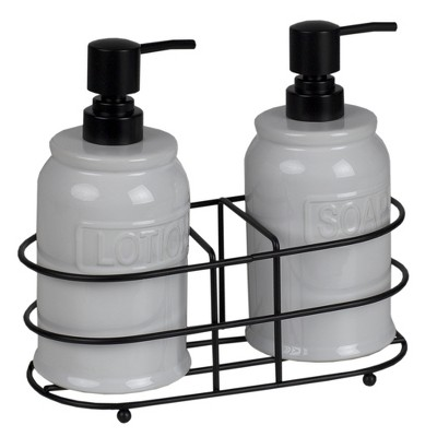 Home Basics 2 Piece Embossed Glazed Ceramic Soap Dispenser with Dual Compartment Metal Rack, White