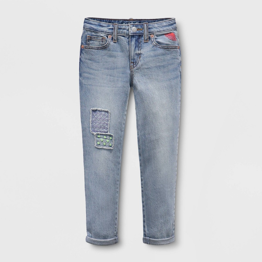 Compare Girls' Girlfriend Embroidered Patch Mid-Rise Jeans - Cat & JackͲ Medium Wash