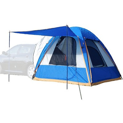 Napier Sportz Dome-To-Go Universal CUV/SUV/Van Vehicle Cargo Portable 3 Season 4 Person Outdoor Camping Ground Tent with Optional Awning, Blue/Gray