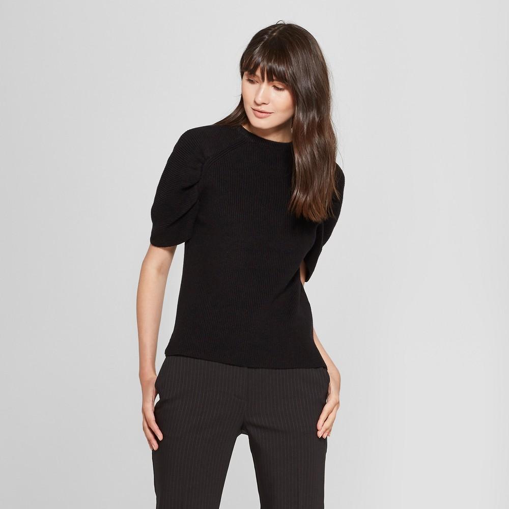 Women's Short Balloon Sleeve Pullover Sweater - Prologue Black S