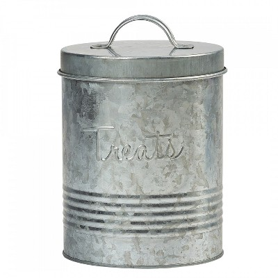 Amici Pet Retro Treats Metal Food Canister, Galvanized, 72oz
