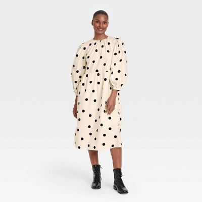 Women's Polka Dot Balloon Long Sleeve Tie-Back Dress - Who What Wear™