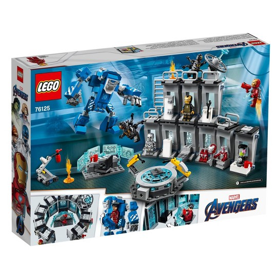 LEGO Marvel Avengers Iron Man Hall of Armor Superhero Mech Model with Tony Stark Action Figure 76125 image number null