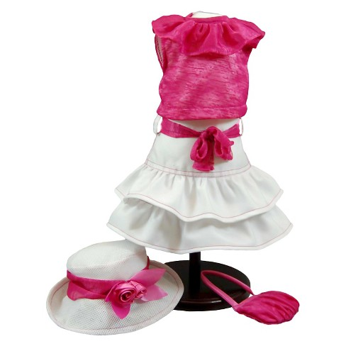 The Queen's Treasures® 18 Inch Doll Clothes Outfit, Hot Pink Skirt Set, Hat, Shirt, Skirt, Handbag - image 1 of 4