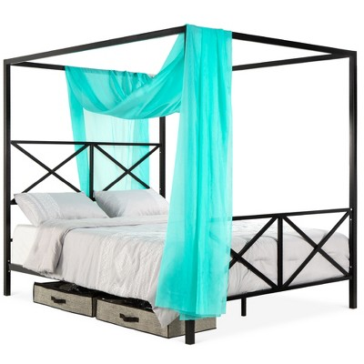 Best Choice Products 4-Post Queen Size Modern Metal Canopy Bed w/ Mattress Support, Headboard, Footboard