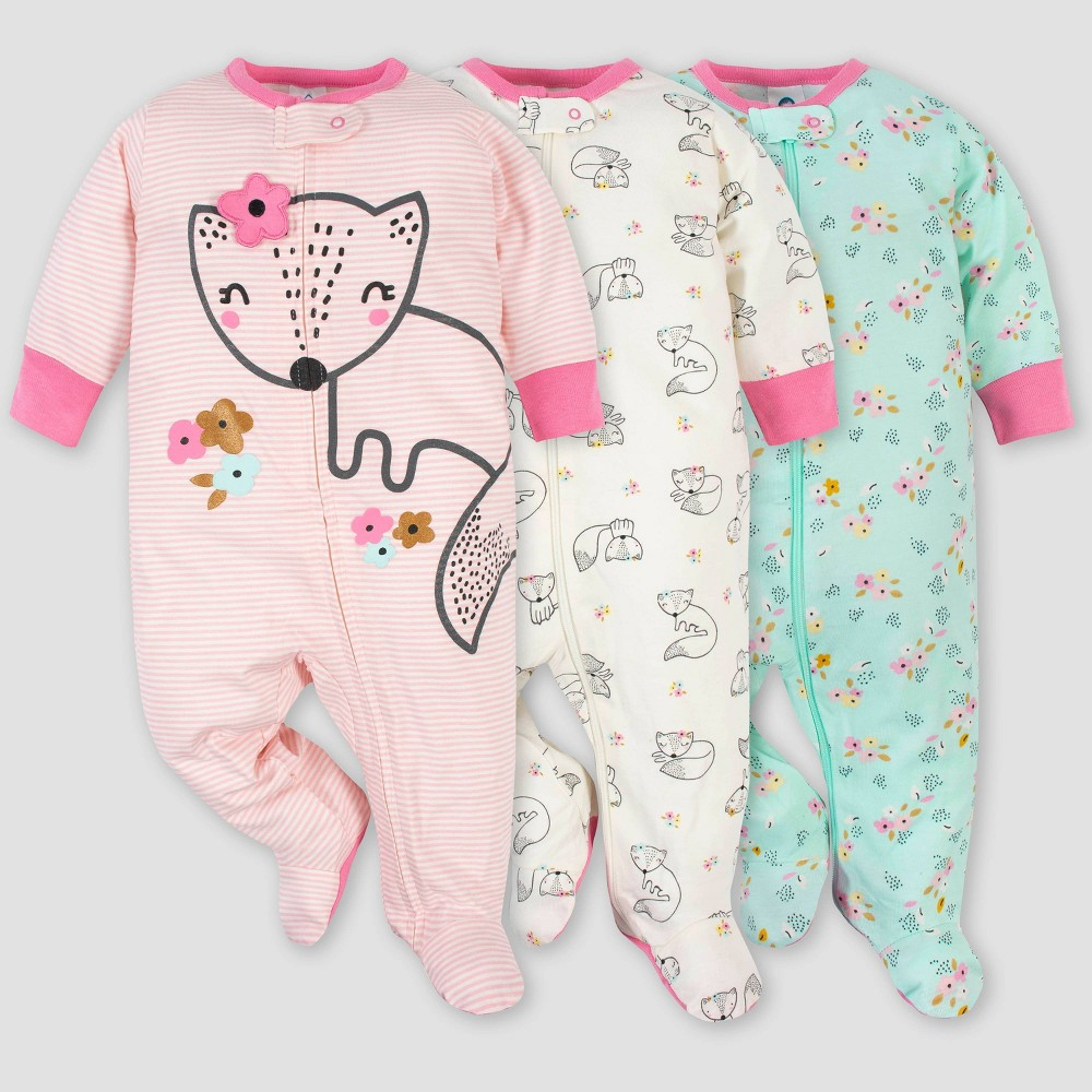 Gerber Baby Girls 39 3pk Fox Zip Front Sleep N 39 Play Pink White Green 3 6m