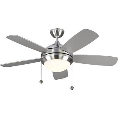 "44"" Monte Carlo Discus II Brushed Steel LED Ceiling Fan"