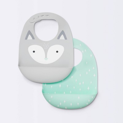 Silicone Bibs with Decal - Cloud Island™ Gray Fox & Green Arrows