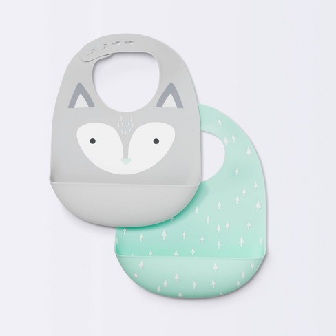 Silicone Bibs with Decal - Cloud Island™ Gray Fox & Green Arrows - image 1 of 4